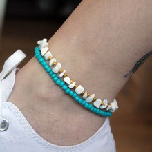 Chic Blue Beads Anklets Simple Irregular White Resin Bracelets For Women Engagement Gift Accessories