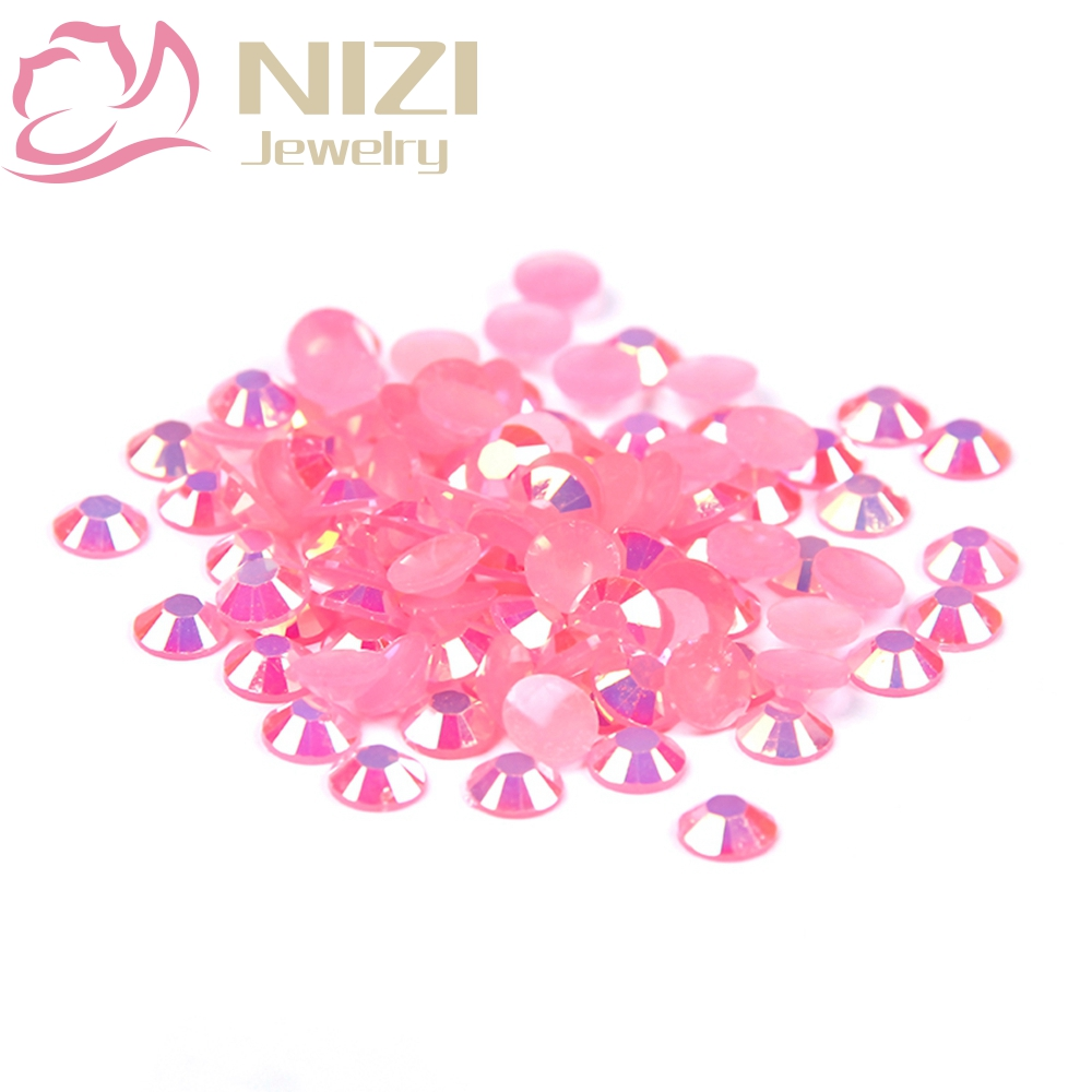 Crystal Stone Flatback Resin Rhinestone 2-6mm Pink AB Color 14 Facets Non Hotfix For 3D Nail Art DIY Decorations 2016 New Design 12 facets of a crystal