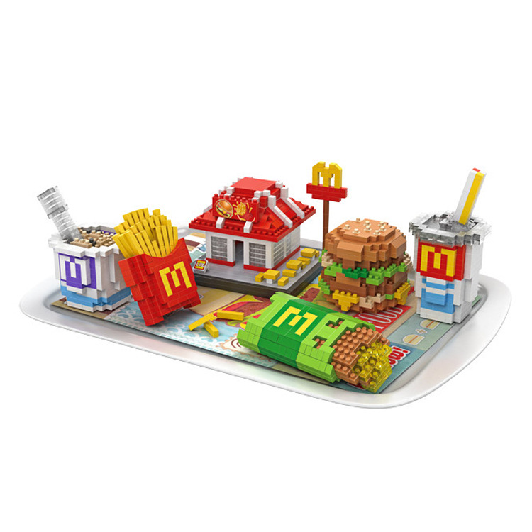 Loz Delicious McDonald House Hamburger Coke Set Meal DIY Building Block Mini Diamond Nanoblock Educational Toys for Kids Gifts