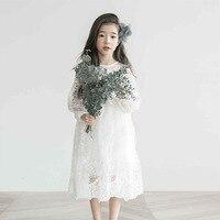 Summer Party Dress Girl White Lace Dress Long Sleeve Little Girls Wedding Dress Size 4 6 8 10 12 14 years Dress Kids