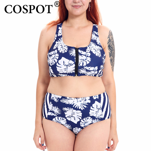 2de6cfa375 COSPOT Women Swimsuit Plus Size Tropical Leaf Print Zipper Up High Waist Tankini  Set Bathing Push Up Suit Set Two Piece