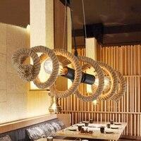Ретро Промышленность подвесные светильники творческий бар магазин одежды кафе украшены освещения Ресторан железа лампы из бечёвки подвес