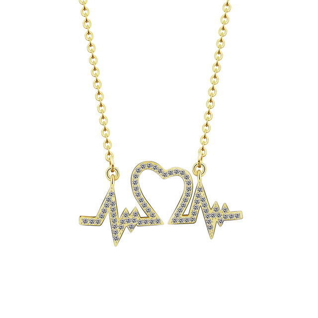 5c9273047 Hot Simple Wave Heart Necklace Chic ECG Heartbeat Gold Colour Pendant Charm  Lightning Chocker Necklace for Women Vintage Jewelry