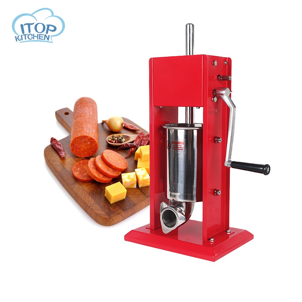 INT Manual Sausage Machine Meat Stuffer Filler Hand Operated Salami Maker Funnel