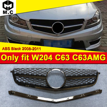 For Mercedes w204 C class grille grill one fin C63amg look ABS gloss black Only fit C63 Front Grille Without Sign 08-11