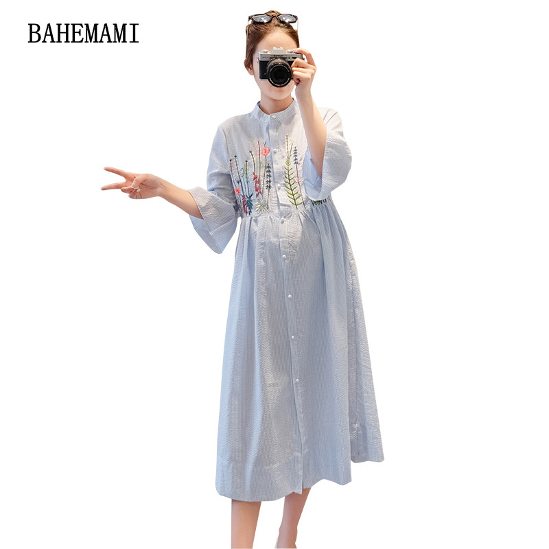 BAHEMAMI Summer Embroidery Cotton Linen Nursing Maternity Dress Half-sleeved clothes for Pregnant Women Breast Feeding Dresses