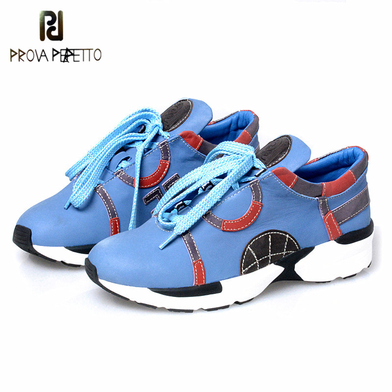 Prova Perfetto New Style Genuine Leather Flat Sneaker Bordered Mixed Color Novelty Women Shoes Lace Up Shallow Wedge Heel Shoes prova perfetto fashion new low heel flip flop shoes popular style mixed color genuine leather cozy women outside summer sandals