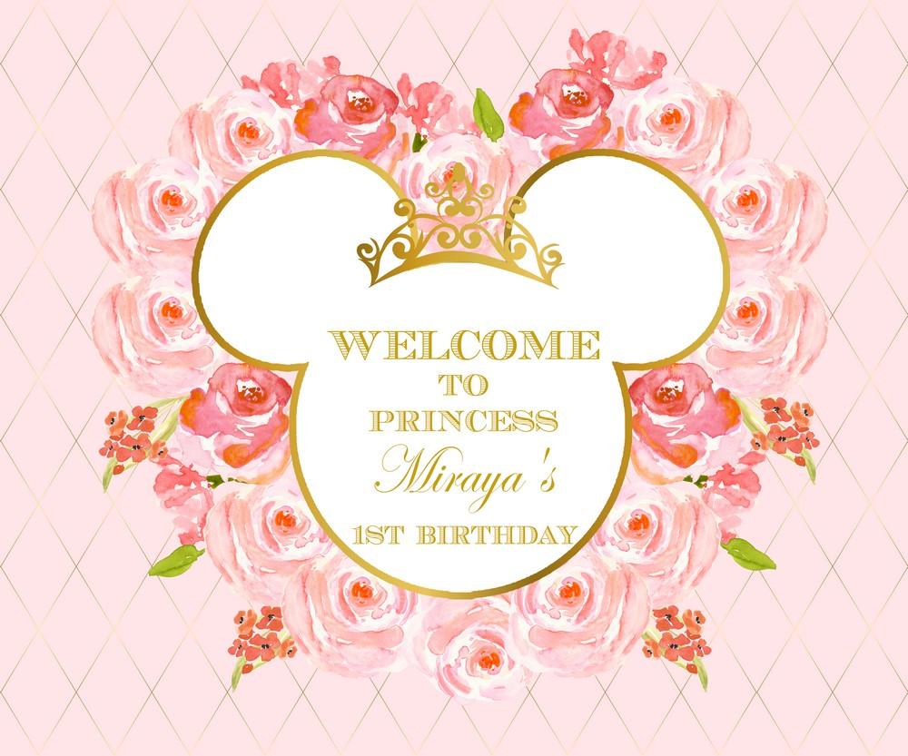 Happy birthday minnie mouse pink rose gold crown baby child photo background photography backdrops quality vinyl