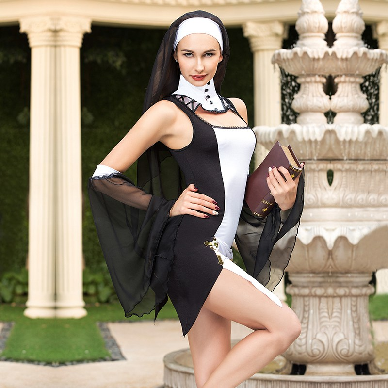 Virgin Mary Nuns Costumes for Adult Women Sexy Black Nuns Costume Arabic Religion Monk Ghost Uniform Halloween Nun Costume 6322