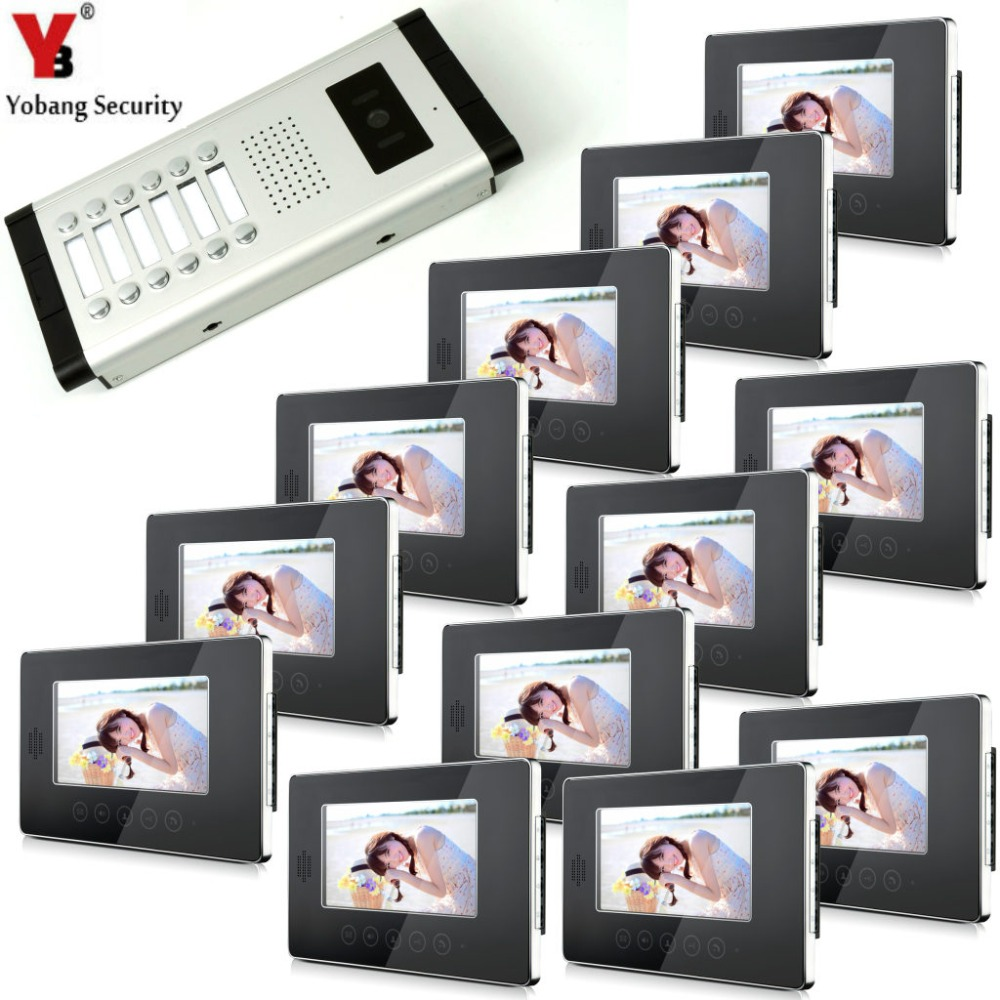 YobangSecurity 7 LCD Wired Video Door Phone Doorbell Intercom Monitor Visual Security Camera Bell System For 12Unit Apartment wired video door phone intercom doorbell system 7 tft lcd monitor screen with ir coms outdoor camera video door bell