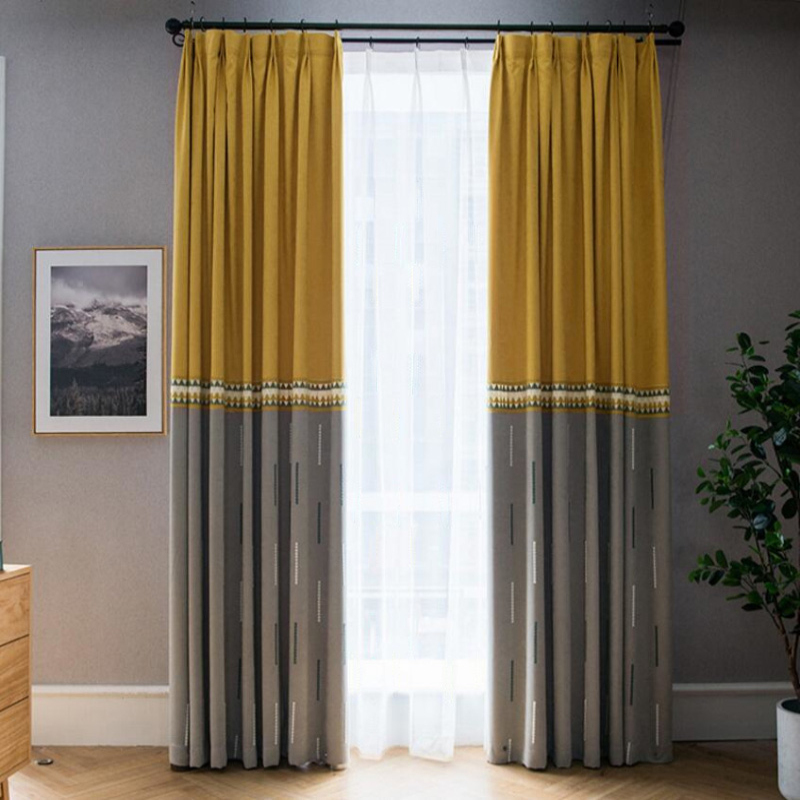 Us 3 51 33 Off Yellow Gray Stitching Curtain Window Curtains For Living Room Luxury Kitchen Sheer Fabrics Drapes Blackout Chenille X361 30 في