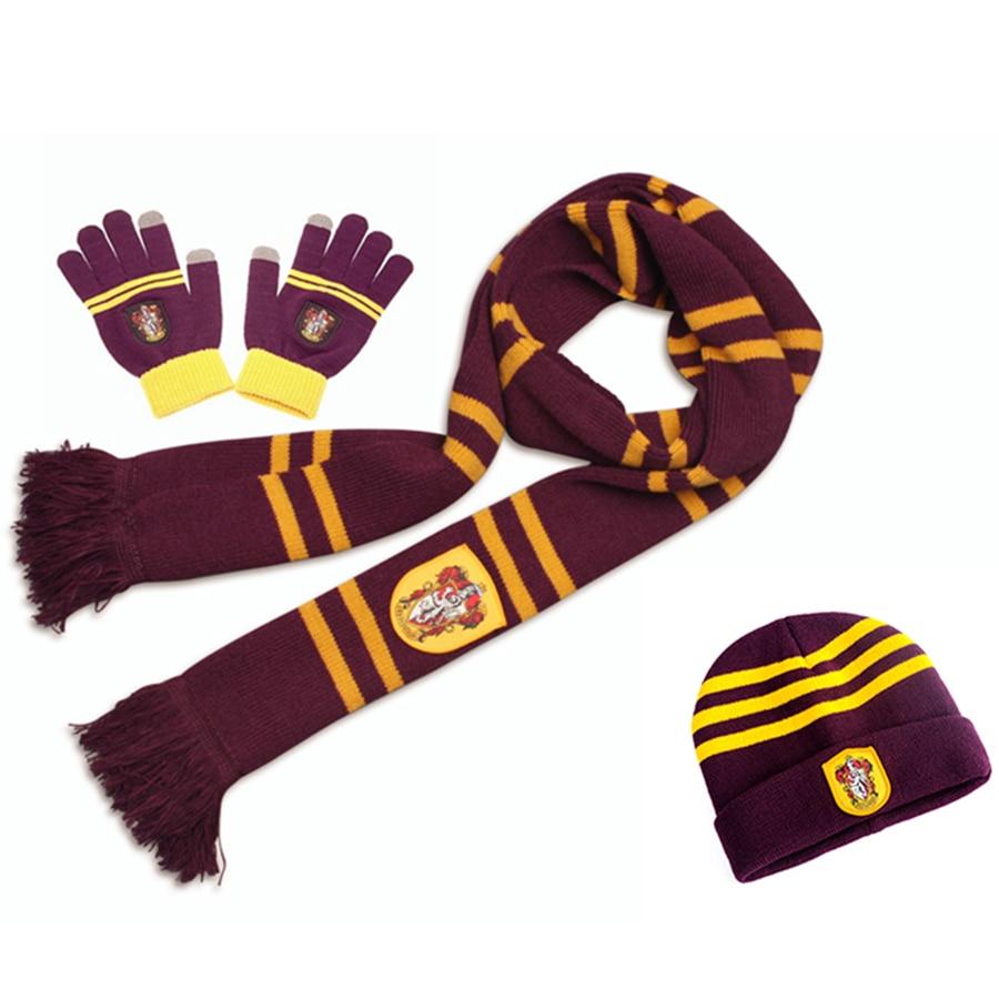 Harri Potter Gryffindor/Slytherin/Hufflepuff/Ravenclaw Scarf+Cap/Hat/NECKTIE/Touch Glove Scarf Soft Warm Costume Near Year Gift