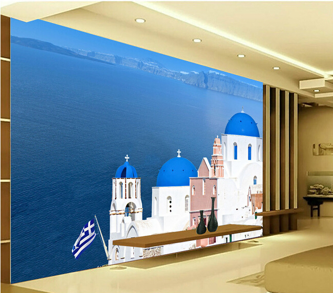 Custom landscape wallpaper the Greek sea wall murals for the living