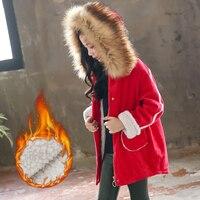 Kids Winter Corduroy Jacket Children's Natural Rabbit Fur Baby Outerwear Long Parkas Raccoon Fur Hooded Coat Girls Warm Jacket