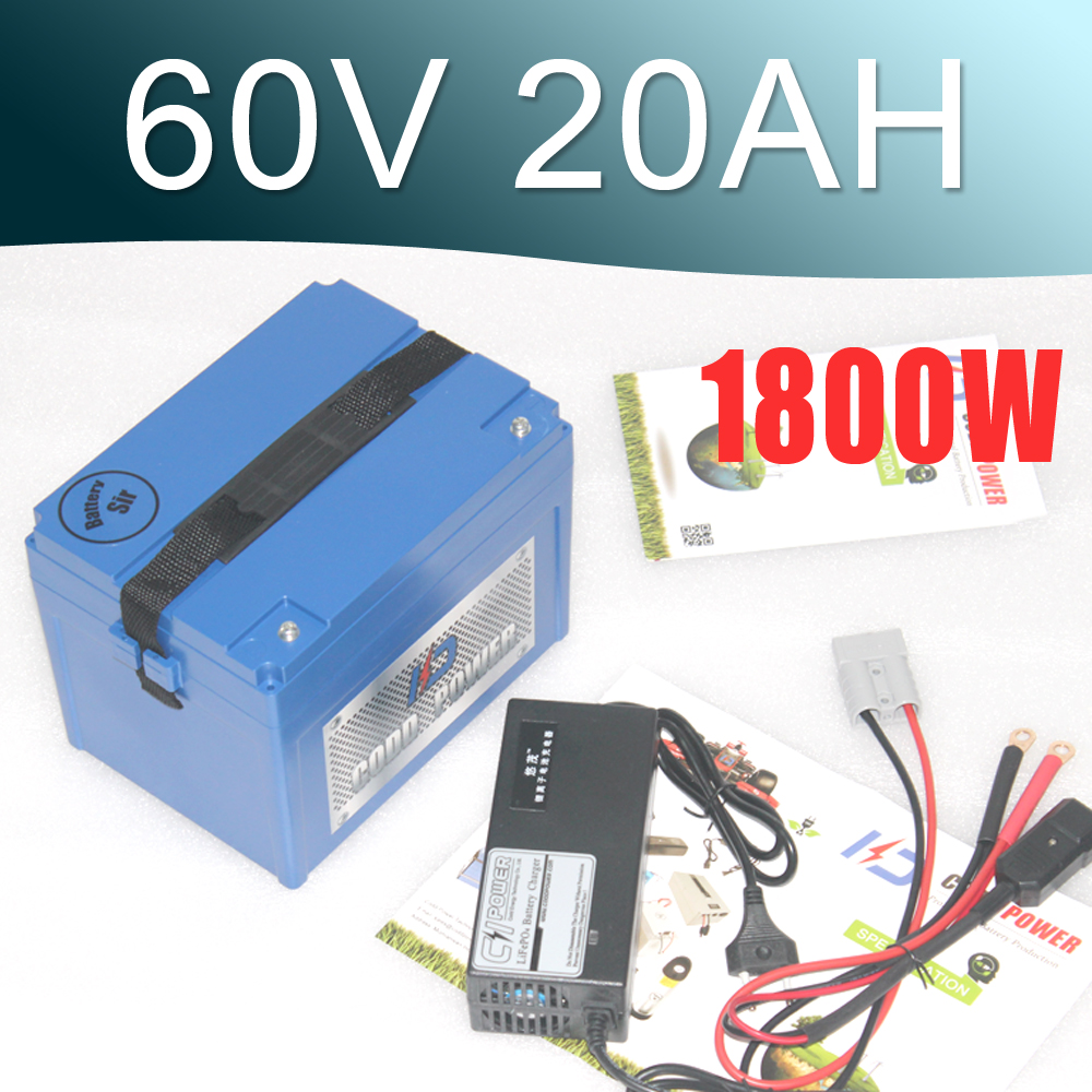 Lithium Rechargeable Battery 60V 20Ah Electric Bike Battery 60V For 2000W Motor 5pcs lot rechargeable deep cycle 36v 15ah lithium ion battery pack for electric bike scooter parts 36v 500w motor kit with usb