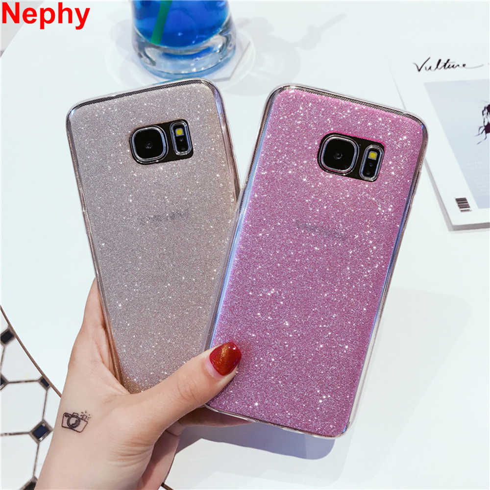 Nephy Phone Case For Samsung S6 S7 Edge S8 S9 Plus J3 J5 J7 2016 A3 A5 A7 2017 Grand Prime Cover Glitter Shine Soft TPU Silicone