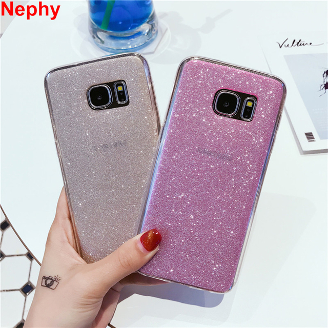Nephy Phone Case For Samsung S6 S7 Edge S8 Plus J3 J5 J7 2016 A3 A5 A7 2017 Grand Prime Cover Glitter Shine Soft TPU Silicone