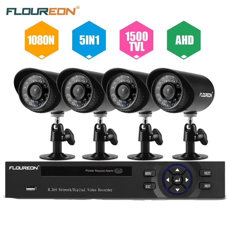 bilder für FLOUREON 1X 4CH 1080N 5 IN 1 HDMI CCTV AHD TVI DVR 4 stücke 1500TVL outdoor IR-Cut Bullet Überwachungskameras Sicherheitsüberwachung set
