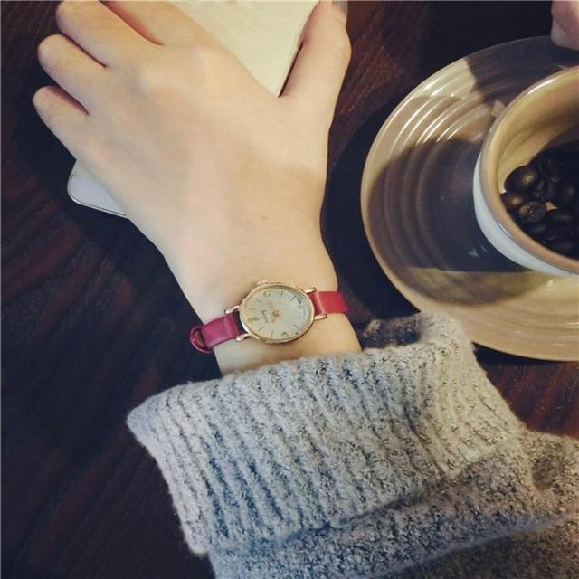 Simple Lovers' Small Rhinestone Dial Watches Women Leather Strap Analog Quartz Wrist Watch Men Elegant Couple Clock Relogio #LH