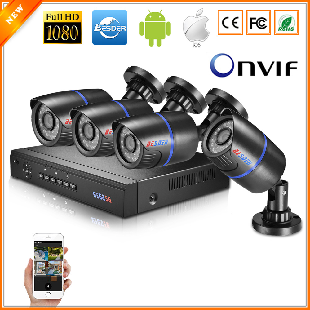 BESDER Home Surveillance System 4CH PoE NVR Kit 1080P 2MP Up To 150M PoE Transmission Distance