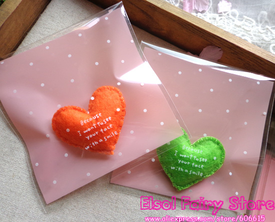 10x10cm Pink with dots Self-adhesive Gift Food Packing bag Cellophane Bag, Cute Biscuit bag Plastic Party Favor Bag (300pcs)