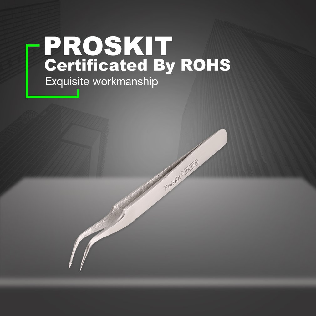 Proskit 1pk-104t 120mm Insulated Tweezer Non-magnetic Anti-static Curved Cuspid Straight Tweezer For Electronics Bright And Translucent In Appearance Hand Tools