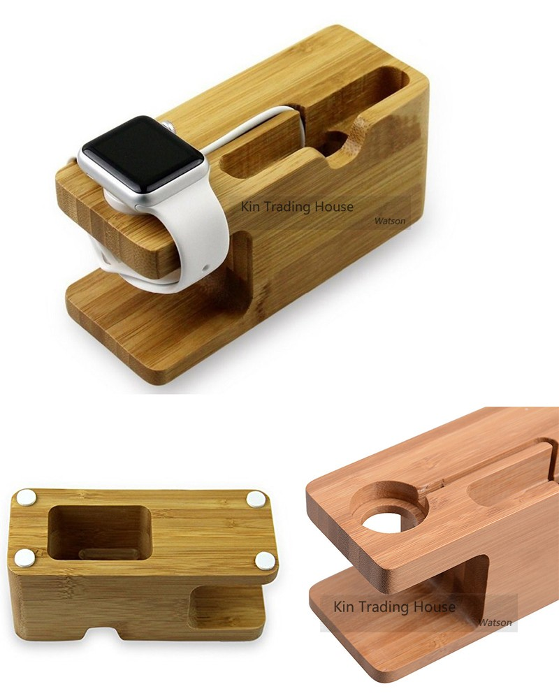 Bamboo Wood Stand Holder Station for Apple Watch iPhone 5s 6 7 X Dock 14