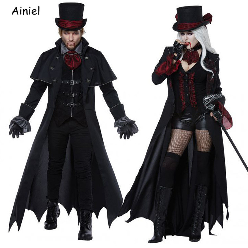 Vampire Costumes Adult Black Queen Dresses Demon Gentleman Uniform Witch Cloak Coat Men Women Vampire Halloween Cosplay Costumes