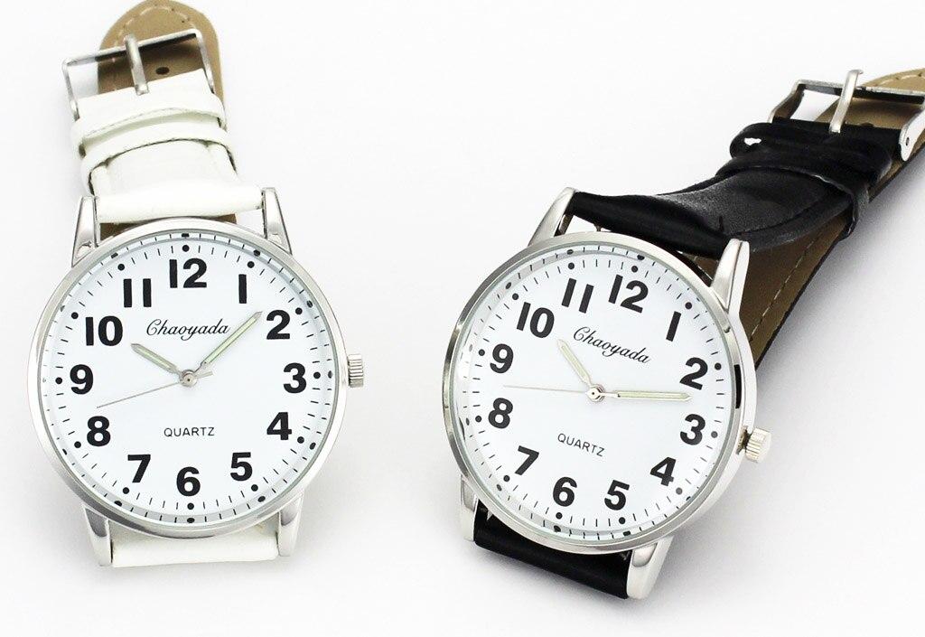 Men Women Casual Simple Black White Leather Female Male Deals Cheap Analog Quartz Wrist Watch 6
