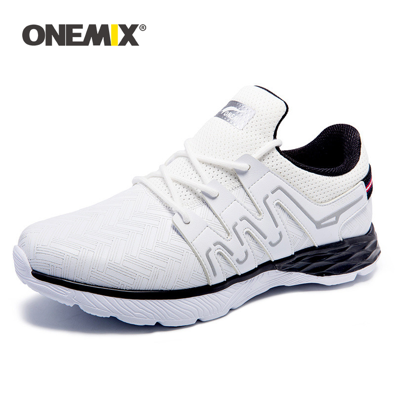 Onemix Autumn Winter Men s Running Shoes Leather Athletic Shoes Walking Athlete Sneakers Men Leather Sport