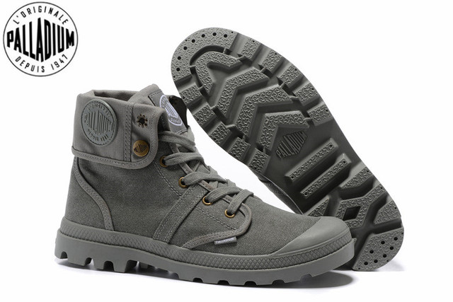 d9afd6418 PALLADIUM Pallabrouse All Grey Men High top Military Ankle Boots Canvas  Casual Shoes Men Casual Shoes Eur Size 39 45-in Men s Casual Shoes from  Shoes on ...