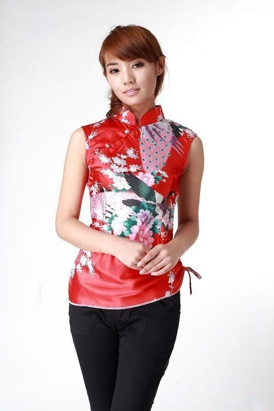 Nuevo Rojo de La Tendencia Nacional de Las Mujeres Camisa de Seda Tops Floral Si