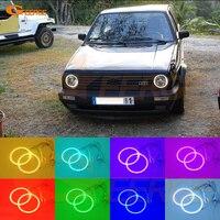 For Volkswagen VW Golf Mk1 Mk2 GTI Euro Headlight 1974 1992 Excellent RGB LED Angel Eyes