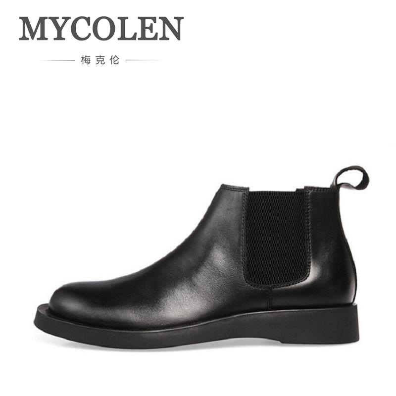 MYCOLEN Leather Mens Casual Ankle Boots Brand Minimalist Design Winter Shoes Black Top Quality Comfort Shoes Men Askeri Bot mycolen men boots genuine suede comfort leather sewing minimalist design black thread men ankle boots leather male shoes adult