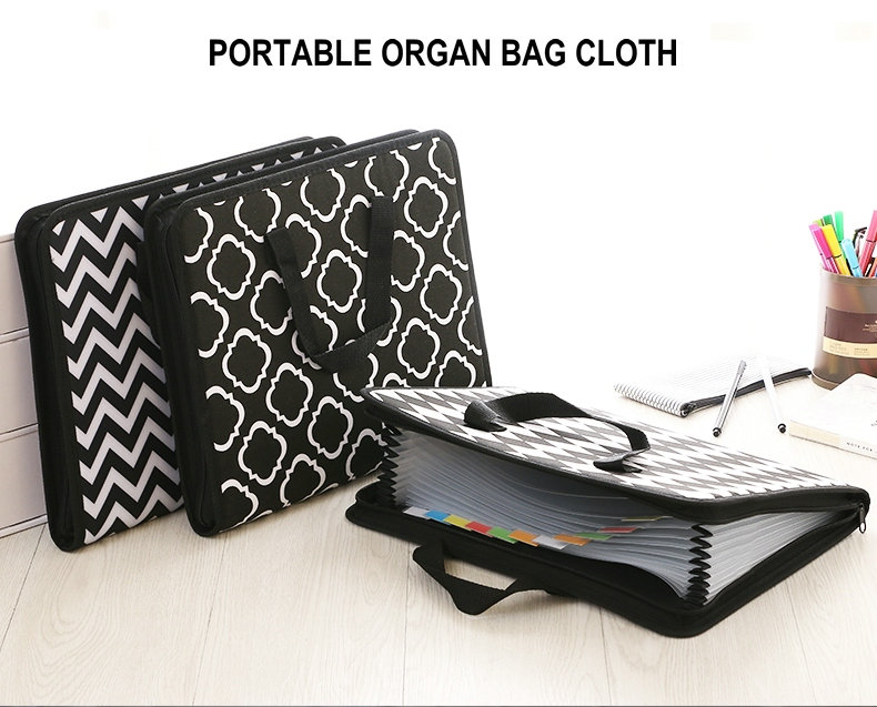 Fashion Expanding File Folder For Documents Case A4 Document Bag Multi Pocket File Organizer Zipper Bag