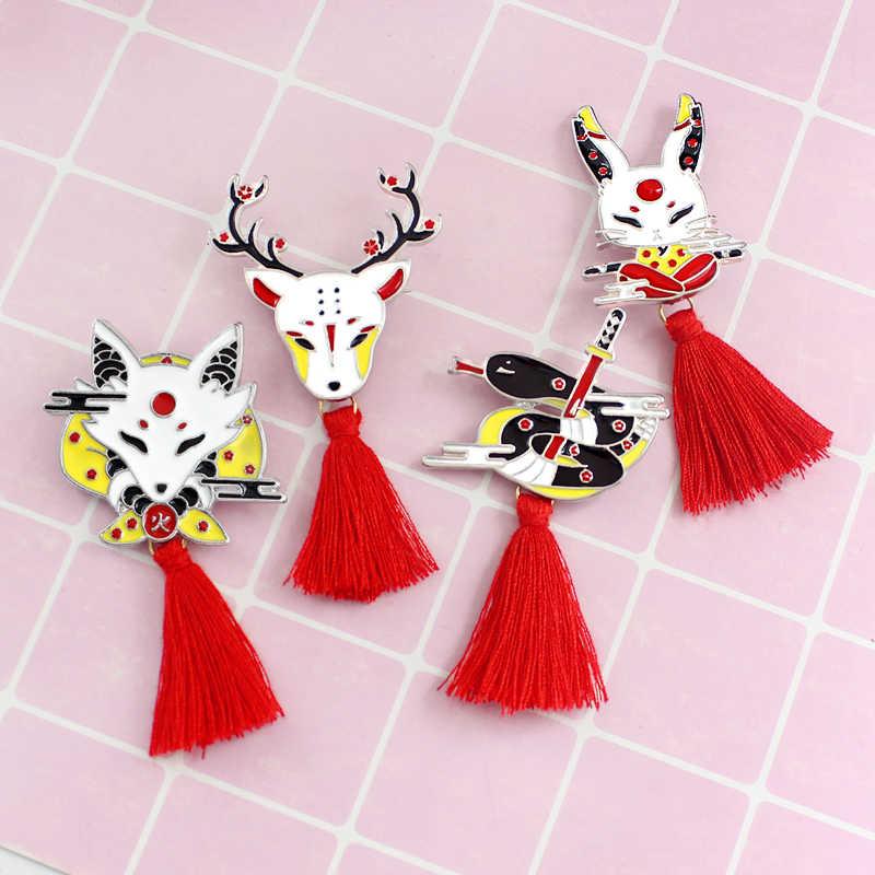 Vintage Animale Della Lega Nappa Spilla Giapponese Ninja Coniglio Fire Fox Serpente Kendo Sika Cervo Smalto Spille Zaino Distintivo Amici Regali