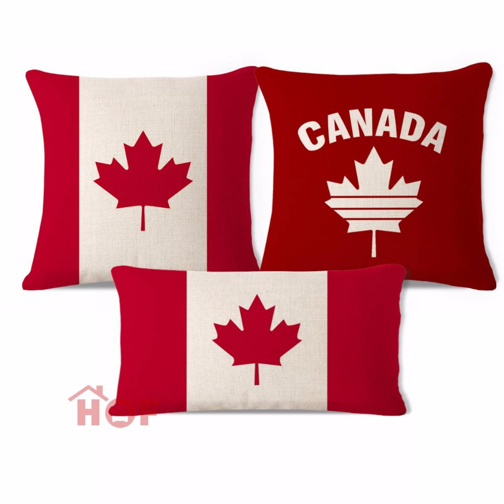 Decorative Throw Pillow Case Canada Leaf Flag Red Cotton Linen HEAVY WEIGHT FABRIC Sofa Chair Outdoor Indoor Cushion Cover Set