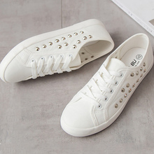Canvas shoes girls Big size 4.5-12 white sneakers rivet shal
