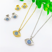 Gold Color Eye Necklace for Women Crystal Turkish Pendant Necklaces Earings Trendy Rhinestone collier Choker Jewelry Sets