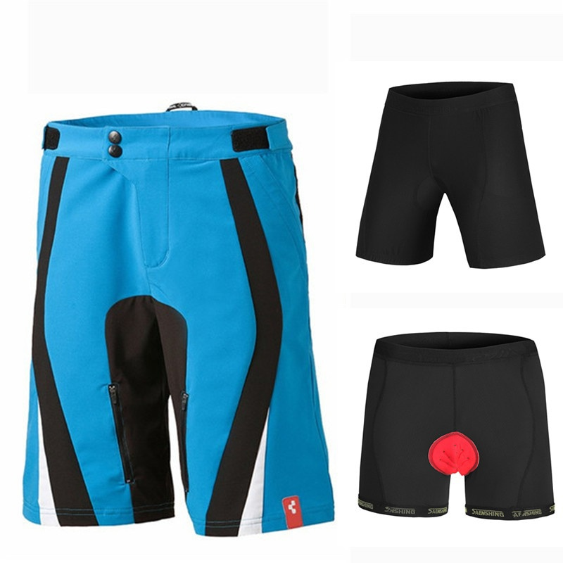 New Shorts Men  + 3D Padded Shorts Downhill MTB  Mountain  Short Pants Bermuda 1set