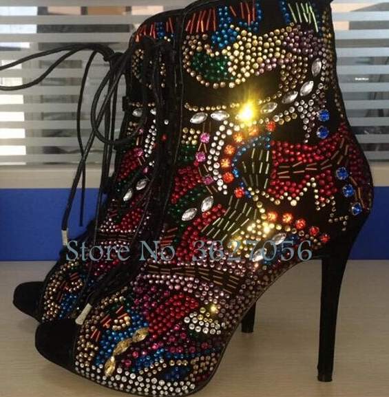 Bling Bling Full Color Crystal Peep Toe Cross Tie Lace Up Thin High Heels Shoes Glittering Ethnic Style Casual Pumps