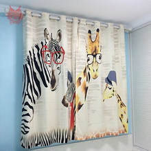 Giraffe zebra cartoon ready made curtain punched window curtain cortinas rideaux occultant pour le salon tende SP4268 FREE SHIP(China)