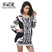 Long Sleeved O Neck Cashmere Sweater Plus Size Black White Stripes Drilling Cartoon Dress 2015 New