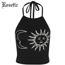 Rosetic Gothic Tank Tops Halter Zon Crescent Moon Print Zwarte Slanke Sexy Backless Tops Mode Strand Witte Korte Goth Tank tops(China)