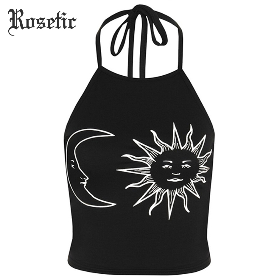 Rosetic Gothic   Tank     Tops   Halter Sun Crescent Moon Print Black Slim Sexy Backless   Tops   Fashion Beach White Short Goth   Tank     Tops