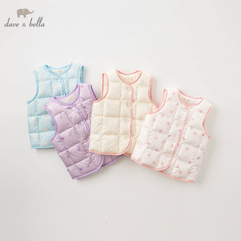 DB4699-A dave bella baby light down vest girls print sleeveless 90% white duck down padding coat children fashion autumn vest image