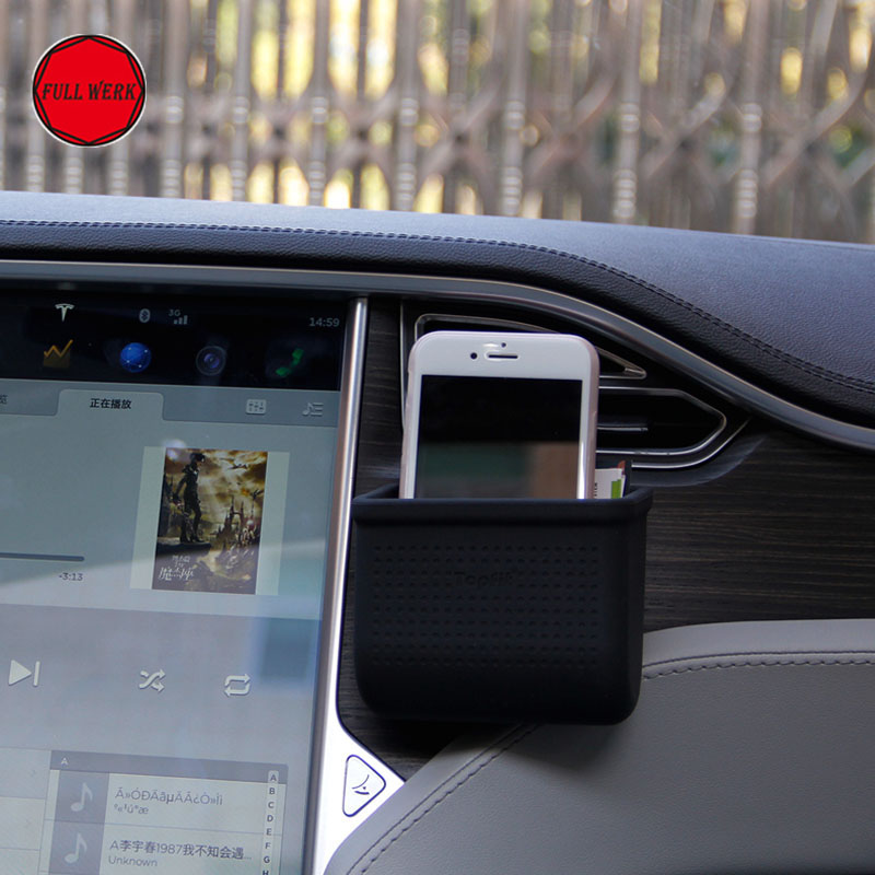 1 pc Black Car Front Air <font><b>Vent</b></font> Mount Storage Box Pocket Pouch Cell <font><b>Phone</b></font> <font><b>Holder</b></font> Console Stand Pocket for Tesla Model S Motor