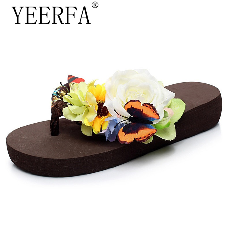 YEERFA 2017 Summer Wedges Sandals Slip On Casual Flip Flops Creepers Platform Flowers Shoes Woman Comfort Slippers SIZE 35-41