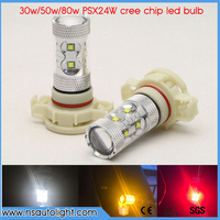 2x 30W 50W 80W High Power White Red Yellow PSX24W LED Bulbs For Fog Lights Or