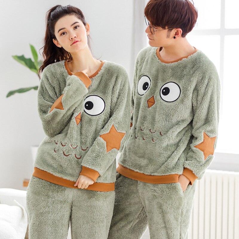 Couple Pajamas Soft Flannel pajama for man and Women Pijama Full Sleeve Men Pyjama Round-neck Sleepwear Women Nightwear